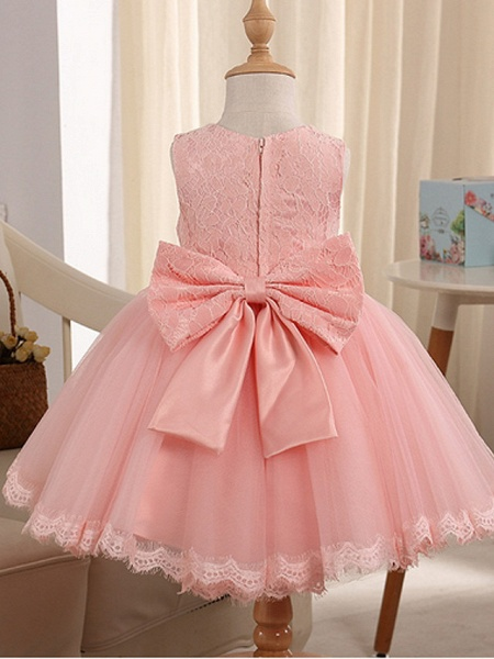 Princess Knee Length Pageant Flower Girl Dresses - Polyester Sleeveless Jewel Neck With Beading_4