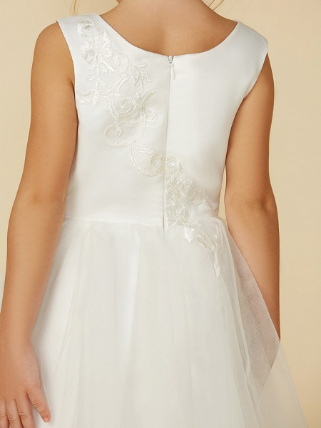 A-Line Tea Length Wedding / First Communion Flower Girl Dresses - Lace / Tulle Sleeveless Jewel Neck With Lace_8