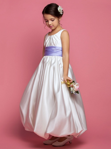 Princess / A-Line Ankle Length Satin Sleeveless Square Neck With Sash / Ribbon / Ruched / Side Draping_2