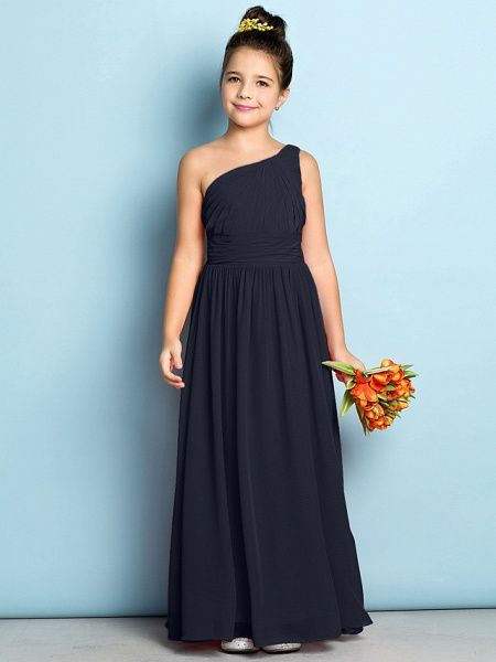 A-Line One Shoulder Ankle Length Chiffon Junior Bridesmaid Dress With Side Draping / Natural / Mini Me_35