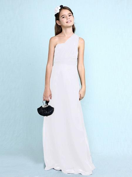 Sheath / Column One Shoulder Floor Length Chiffon Junior Bridesmaid Dress With Side Draping / Natural_22