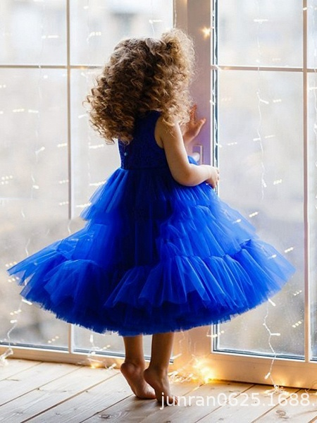 Princess / A-Line Floor Length Party / Birthday Flower Girl Dresses - Lace / Tulle Sleeveless Jewel Neck With Pleats / Tier_2