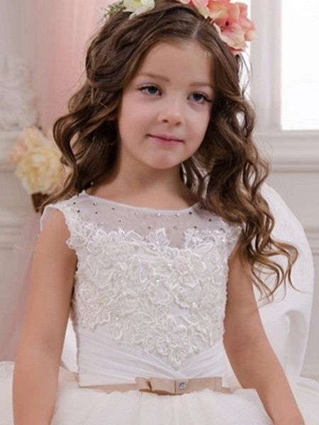 Ball Gown Floor Length Event / Party / Birthday Flower Girl Dresses - Polyester Sleeveless Jewel Neck With Appliques_3