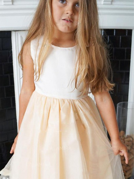 A-Line Knee Length Wedding / Party Flower Girl Dresses - Satin / Tulle Sleeveless Jewel Neck With Pleats_2