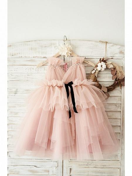 Ball Gown Knee Length Wedding / Birthday Flower Girl Dresses - Tulle Sleeveless V Neck With Belt / Pearls_1