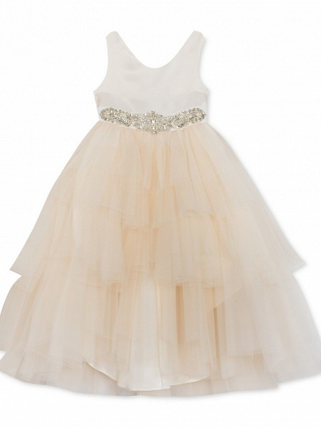 Ball Gown Asymmetrical Wedding / Party Flower Girl Dresses - Satin / Tulle Sleeveless Jewel Neck With Pleats / Tier / Solid_5
