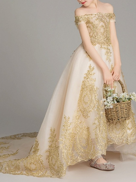 Ball Gown Sweep / Brush Train Pageant Flower Girl Dresses - Polyester Short Sleeve Off Shoulder With Pattern / Print_3