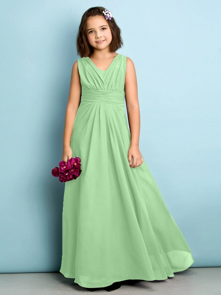 A-Line V Neck Floor Length Chiffon Junior Bridesmaid Dress With Criss Cross / Natural / Mini Me_28