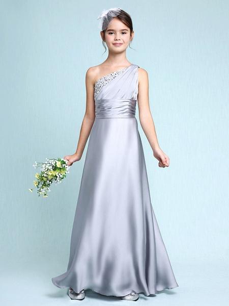Sheath / Column One Shoulder Floor Length Chiffon Satin Junior Bridesmaid Dress With Ruched / Side Draping / Natural_1