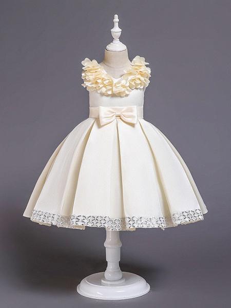 Princess Knee Length Wedding / Party / Pageant Flower Girl Dresses - Satin / Cotton Sleeveless Jewel Neck With Petal / Belt / Bow(S)_1
