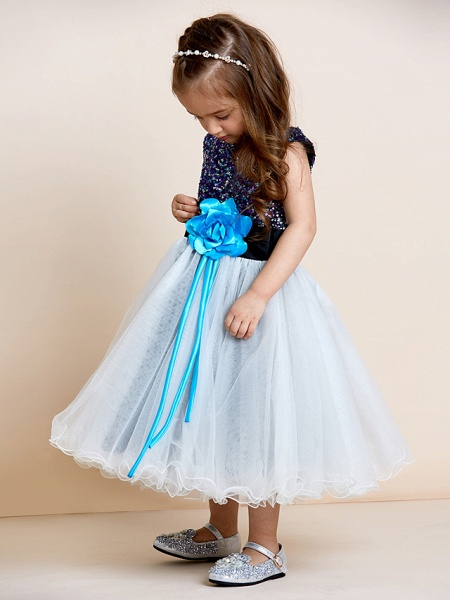 A-Line Tea Length Tulle / Sequined Sleeveless Jewel Neck With Sash / Ribbon / Sequin / Draping / Mini Me_3