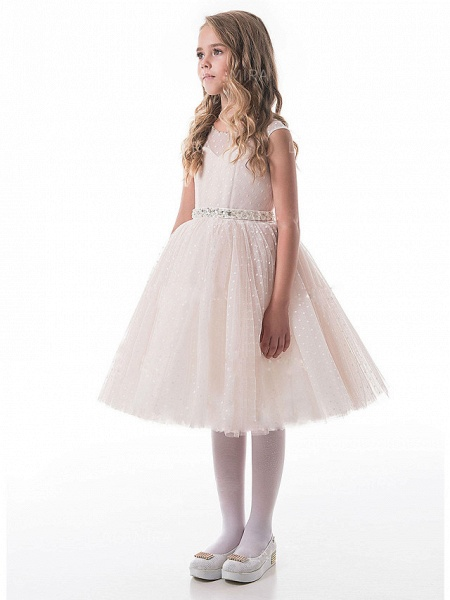 A-Line Knee Length Wedding / Party Flower Girl Dresses - Lace / Tulle Sleeveless V Neck With Appliques_1