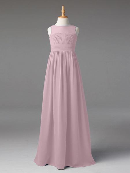 Princess / A-Line Jewel Neck Floor Length Chiffon Junior Bridesmaid Dress With Sash / Ribbon / Pleats_26