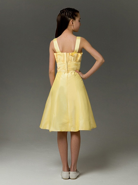 Princess / A-Line Straps Knee Length Taffeta Junior Bridesmaid Dress With Ruched / Crystals / Spring / Summer / Fall / Apple / Hourglass_3