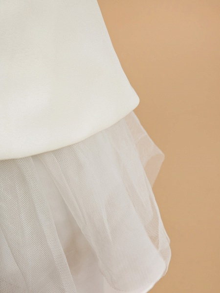 A-Line Ankle Length Wedding / First Communion Flower Girl Dresses - Satin Sleeveless V Neck With Bow(S)_8