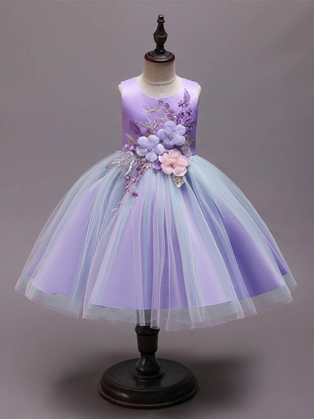 Princess Knee Length Wedding / Party / Pageant Flower Girl Dresses - Satin / Tulle / Cotton Sleeveless Jewel Neck With Belt / Embroidery / Appliques_5