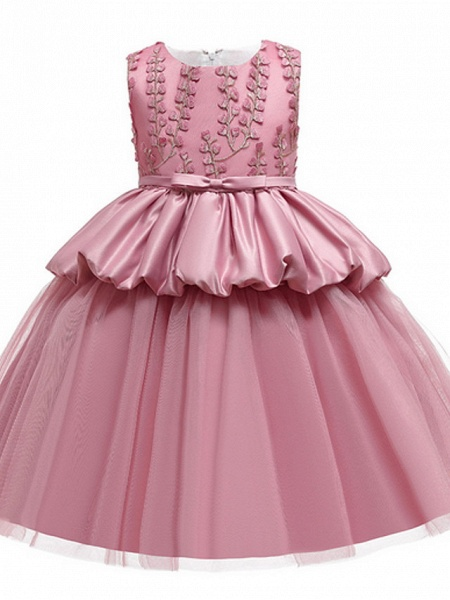 Ball Gown Ankle Length Pageant Flower Girl Dresses - Polyester Sleeveless Jewel Neck With Beading / Appliques_1
