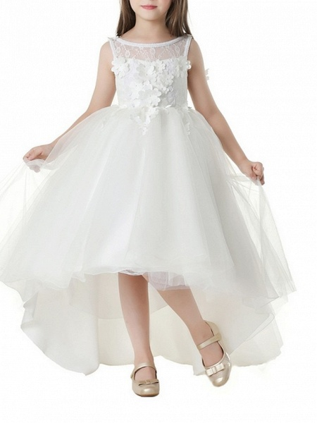 Ball Gown Asymmetrical First Communion Flower Girl Dresses - Polyester Sleeveless Jewel Neck With Appliques_2