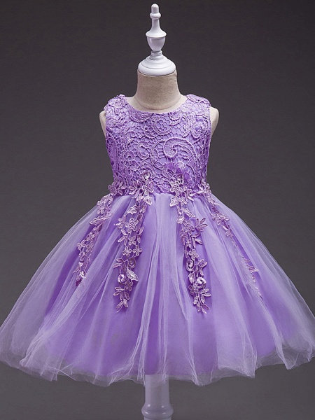 Princess Knee Length Party / Pageant Flower Girl Dresses - Tulle / Polyester Sleeveless Jewel Neck With Lace / Appliques_4