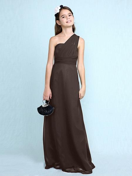 Sheath / Column One Shoulder Floor Length Chiffon Junior Bridesmaid Dress With Side Draping / Natural_27