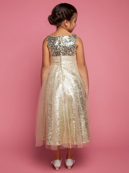Princess / A-Line Tea Length Tulle Sleeveless Jewel Neck With Ruched / Sequin_3