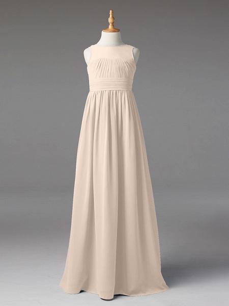 Princess / A-Line Jewel Neck Floor Length Chiffon Junior Bridesmaid Dress With Sash / Ribbon / Pleats_12