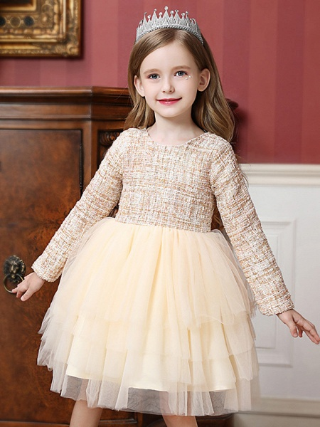 Princess / Ball Gown Knee Length Wedding / Party Flower Girl Dresses - Tulle Long Sleeve Jewel Neck With Ruffles / Tier_4