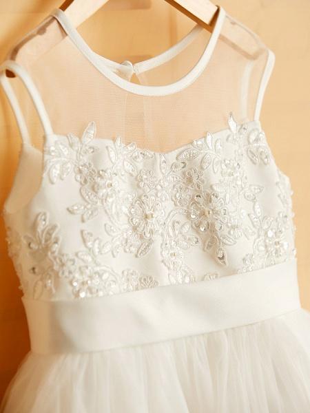 Princess Tea Length Wedding / Birthday / Pageant Flower Girl Dresses - Satin / Tulle Sleeveless Jewel Neck With Bows / Belt / Beading_5