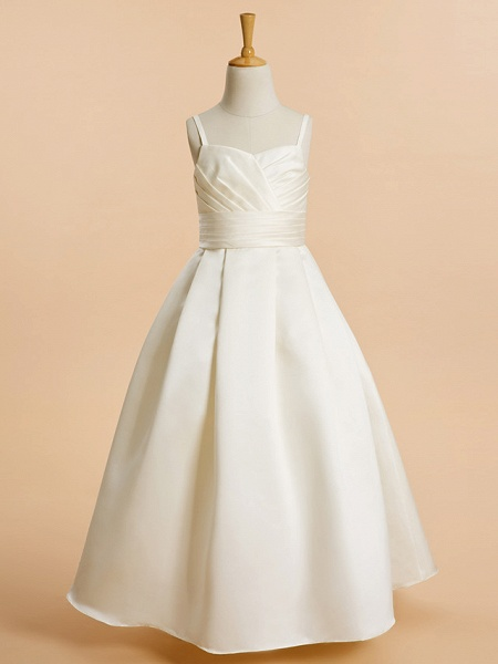 A-Line Floor Length Wedding / First Communion Flower Girl Dresses - Satin Sleeveless Spaghetti Strap With Sash / Ribbon_1