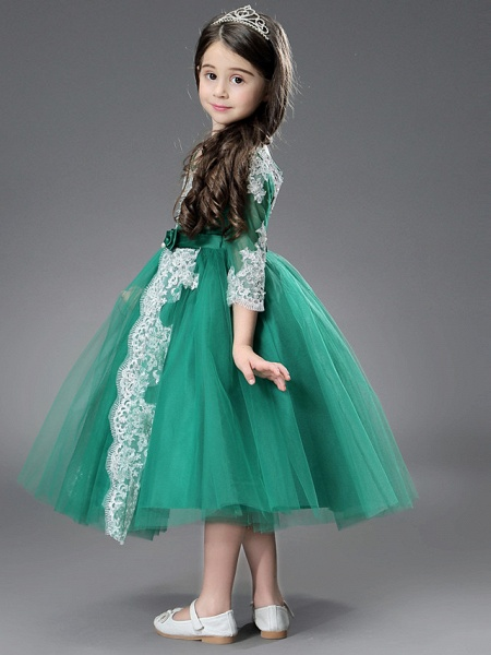 Princess / Ball Gown Ankle Length / Royal Length Train Wedding / Formal Evening Flower Girl Dresses - Tulle / Matte Satin Long Sleeve Jewel Neck With Beading / Appliques / Split Front_7