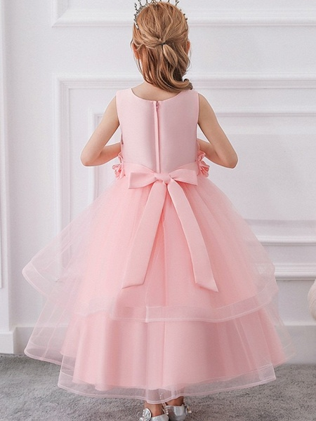 Princess / Ball Gown Ankle Length Wedding / Party Flower Girl Dresses - Tulle Sleeveless Jewel Neck With Sash / Ribbon / Bow(S) / Appliques_8