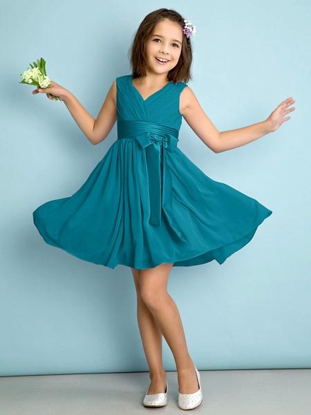 A-Line V Neck Knee Length Chiffon Junior Bridesmaid Dress With Bow(S) / Criss Cross / Natural_26
