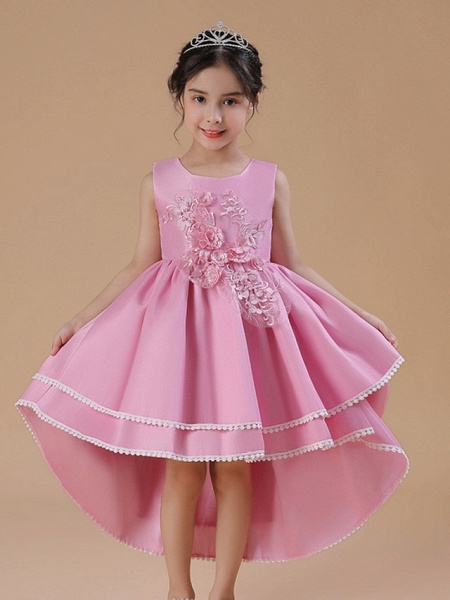 A-Line Asymmetrical Wedding / Party Flower Girl Dresses - Satin Chiffon Sleeveless Jewel Neck With Bow(S) / Appliques_4