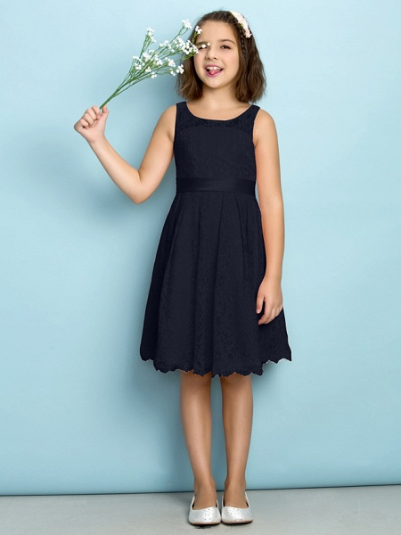 A-Line Scoop Neck Knee Length All Over Floral Lace Junior Bridesmaid Dress With Lace / Natural / Mini Me_35