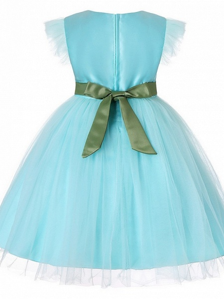 Princess / Ball Gown Floor Length Wedding / Party Flower Girl Dresses - Tulle Short Sleeve Jewel Neck With Sash / Ribbon / Bow(S) / Embroidery_6