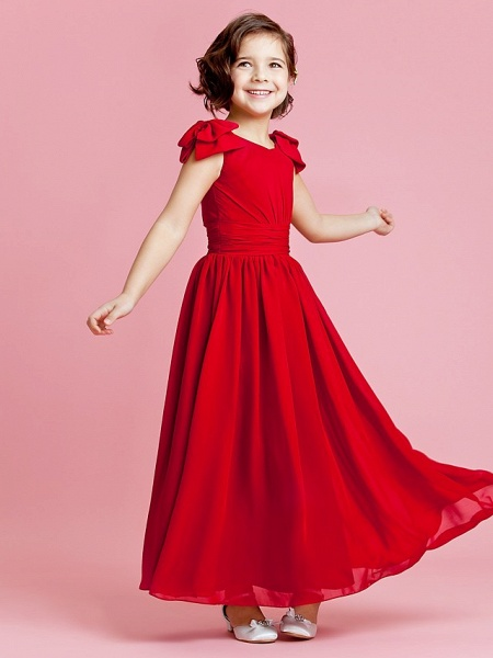 Princess / A-Line Ankle Length Pageant Flower Girl Dresses - Chiffon Sleeveless Jewel Neck With Bow(S) / Buttons / Ruched / Spring / Summer / Fall_3