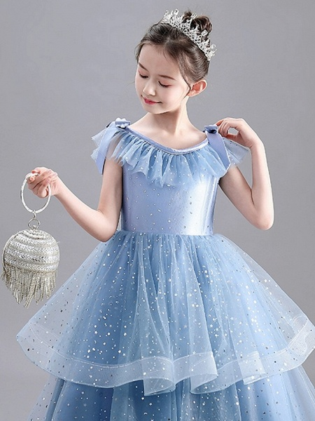 A-Line Floor Length Party / Pageant Flower Girl Dresses - Tulle / Polyester Sleeveless Jewel Neck With Tier / Paillette_3