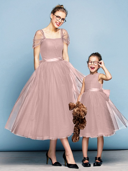 Princess Tea Length Party / Prom / Formal Evening Flower Girl Dresses - Tulle Short Sleeve Square Neck With Bow(S) / Ruched / Elegant_41