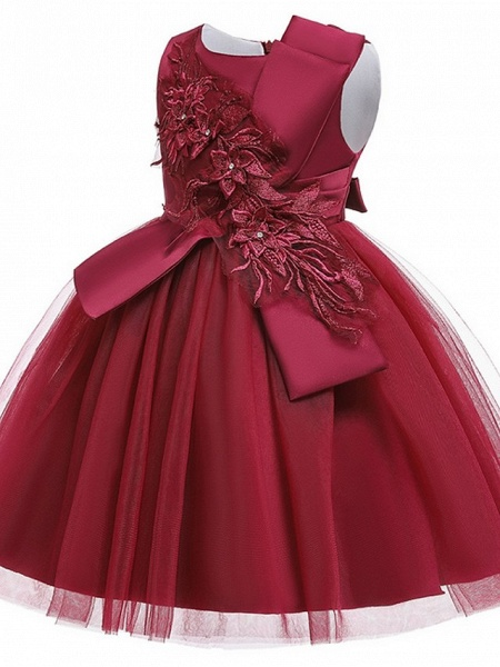 Princess / Ball Gown Knee Length Wedding / Party Flower Girl Dresses - Satin / Tulle Sleeveless Jewel Neck With Bow(S) / Appliques_10