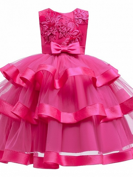 Princess / Ball Gown Knee Length Wedding / Party Flower Girl Dresses - Tulle Sleeveless Jewel Neck With Sash / Ribbon / Bow(S) / Tier_9