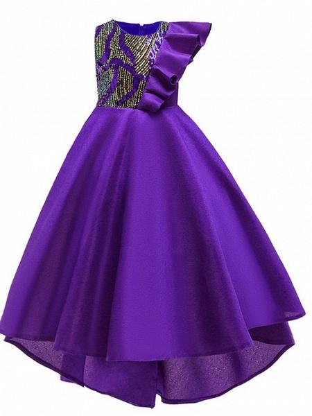 A-Line Round Asymmetrical Cotton Junior Bridesmaid Dress With Bow(S) / Ruffles_7