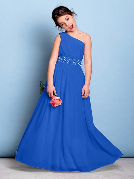 A-Line One Shoulder Floor Length Chiffon Junior Bridesmaid Dress With Sash / Ribbon / Beading / Side Draping / Natural_33