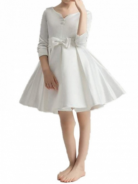 A-Line Knee Length First Communion Flower Girl Dresses - Polyester 3/4 Length Sleeve V Neck With Bow(S) / Pleats_10