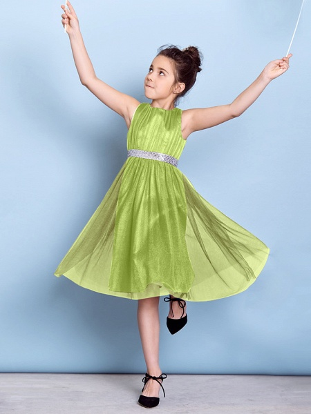 A-Line Jewel Neck Knee Length Tulle Junior Bridesmaid Dress With Sash / Ribbon / Sequin / Draping / Natural_31