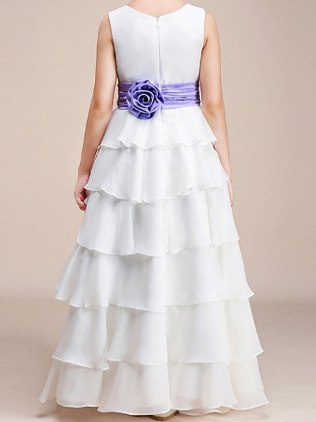 A-Line Floor Length Pageant Flower Girl Dresses - Polyester Sleeveless Jewel Neck With Ruching_4