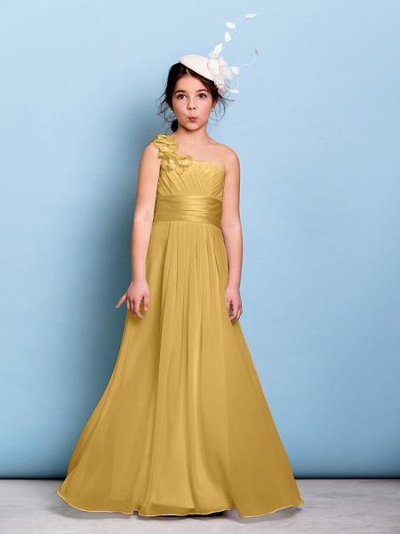 A-Line One Shoulder Floor Length Chiffon Junior Bridesmaid Dress With Sash / Ribbon / Criss Cross / Ruched / Natural_21