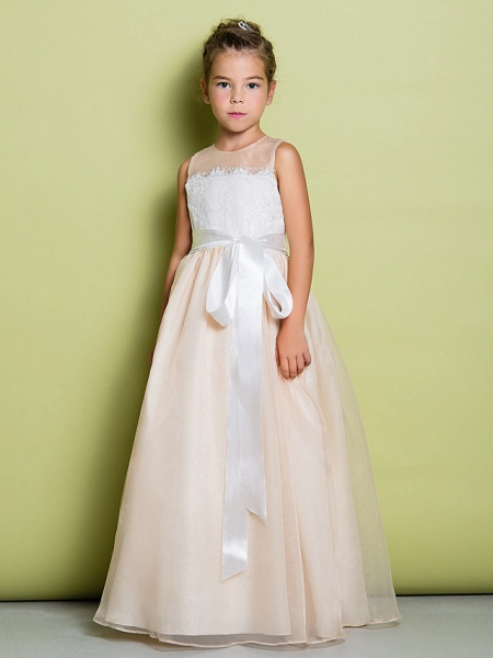 A-Line Floor Length Lace / Organza Sleeveless Jewel Neck With Lace_2