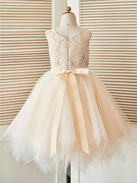 A-Line Knee Length Pageant Flower Girl Dresses - Lace / Tulle Sleeveless Scoop Neck With Sash / Ribbon_2