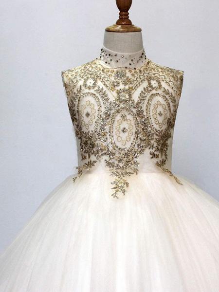 Princess Sweep / Brush Train Wedding / Birthday / Pageant Flower Girl Dresses - Tulle Sleeveless High Neck With Crystals / Rhinestones_2