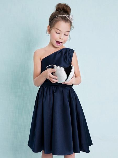 A-Line One Shoulder Knee Length Satin Junior Bridesmaid Dress With Sash / Ribbon / Pleats / Natural_6